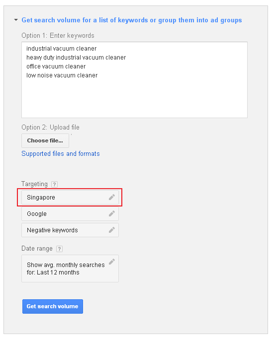 keyword listing
